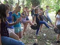 Heather Caton, founder of My Health in Motion, teaching Tai Chi Classes at UNESCO Youth Academy in eastern Europe
